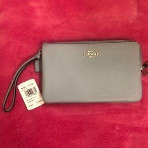 COACH Pebble Leather Double Zip Wallet Wristlet